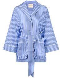 Erika Cavallini Semi Couture - Tied Stripe Pyjama Shirt - Lyst