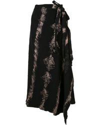 Masnada Asymmetric Tie-dye Skirt - Black