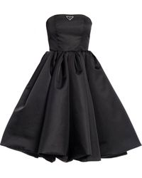 Prada Corset Dress In Re-nylon Gabardine - Black
