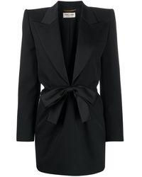 Saint Laurent Bow Tie Tuxedo Dress - Black