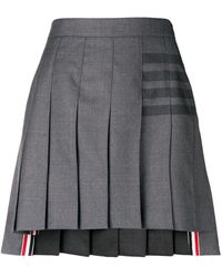 Thom Browne 4-bar Pleated Mini Skirt - Gray