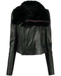Rick Owens レザー ライダースジャケット - ブラック