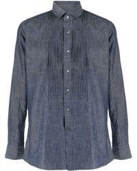 Tagliatore Джинсовая Рубашка Со Складками - Синий