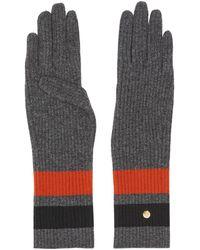 Burberry Перчатки С Полосками И Монограммой - Серый