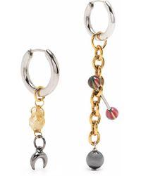 Marine Serre Asymmetric Drop Earrings - Metallic