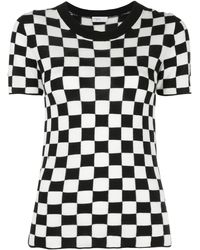 Rosetta Getty Chequered Silk-cashmere Short-sleeve Jumper - Black