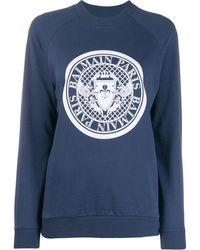 Balmain Толстовка С Логотипом Medallion - Синий