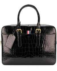 Thom Browne Alligator Leather Business Bag - Black