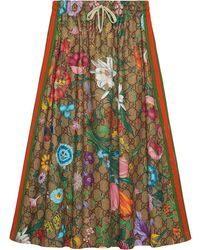 Gucci Flora Pattern A-line Skirt - Multicolor