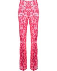 Saks Potts Pantalones rectos con rosas estampadas