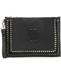 Philipp Plein Flat Studded Clutch Bag - Black