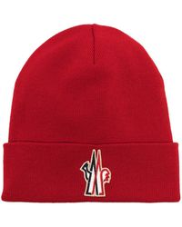 3 MONCLER GRENOBLE Logo patch knitted beanie - Rosso