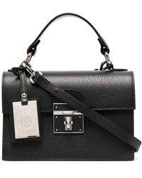Peserico Lock Foldover Shoulder Bag - Black