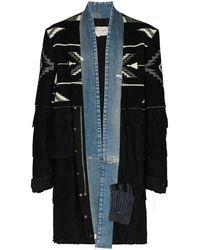 Greg Lauren 50/50 Artist Panelled Coat - Black