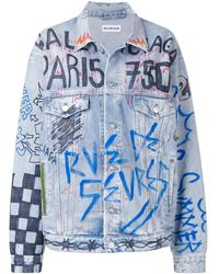 Balenciaga Graffiti Oversized Denim Jacket - Blue