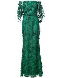 Marchesa notte Robe longue à fleurs brodées - Vert