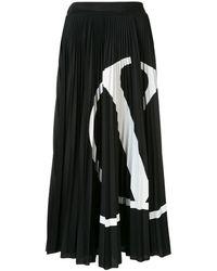 Valentino ブラック Vlogo プリーツ スカート