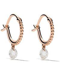 Raphaele Canot 18kt Rose Gold Set Free Diamond Beaded Mini Hoops - Metallic