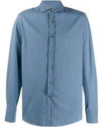 Brunello Cucinelli Джинсовая Рубашка Узкого Кроя - Синий