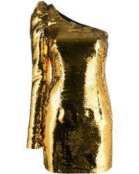 Amen Robe courte brodée de sequins à design à une épaule - Métallisé