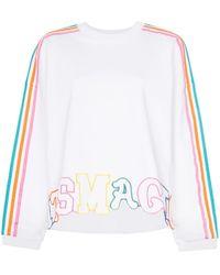 Mira Mikati Rainbow Stripe Letter Embroidered Cotton Jumper - White