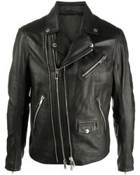 Les Hommes レザーライダースジャケット - ブラック
