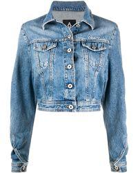 Marcelo Burlon Veste crop en jean - Bleu