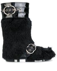 Miu Miu Faux Fur Mid-calf Boots - Black