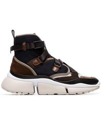 Chloé - Brown Sonnie Chunky Strap High Top Sneakers - Lyst