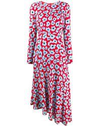 LaDoubleJ Floral asymmetric long-sleeve dress - Blu