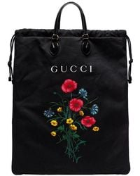 Gucci - Black And Multicoloured Floral Print Chateau Marmont Drawstring Bag - Lyst