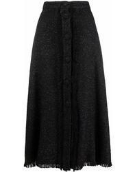 FEDERICA TOSI Metallic-knit A-line Skirt - Black