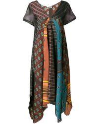 Hache Patchwork Printed Asymmetric Dress - Black