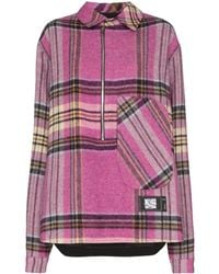 we11done Checked Half-zip Shirt - Pink