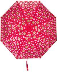 Moschino Paraguas con estampado de ositos - Rojo