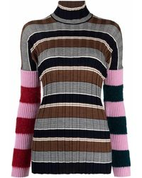 Colville Roll-neck Striped Sweater - Brown