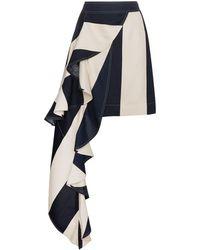CALVIN KLEIN 205W39NYC ストライプ アシンメトリースカート - ブルー