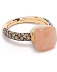 Pomellato Anello Nudo in oro rosa 18kt con pietra di luna e diamanti - Marrone