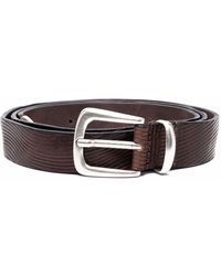Tagliatore Two-tone Leather Belt - Brown