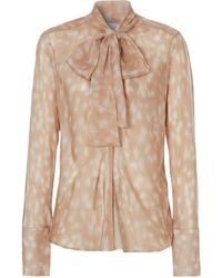 Burberry Deer Print Pussybow Blouse - Multicolor