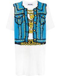 Moschino Платье-футболка С Принтом - Синий
