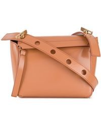 Sophie Hulme Handtasche mit Klappverschluss - Braun