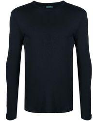 Zanone ラウンドネック ロングtシャツ - ブラック