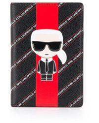 Karl Lagerfeld K/stripe Ikonik Passport Cover - Black