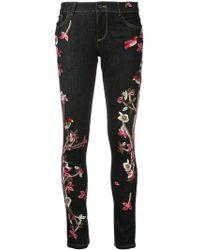 Alice + Olivia - Embroidered Slim Fit Skinny Jeans - Lyst