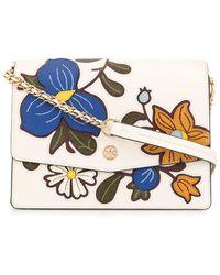 Tory Burch Robinson Floral Appliqués Shoulder Bag - White
