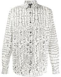 Just Cavalli Рубашка С Тиснением Под Кожу Крокодила - Белый