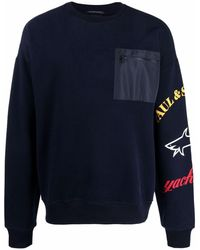 Paul & Shark Winter Fleece Wrap ロゴ スウェットシャツ - ブルー