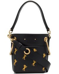 Chloé - Navy Blue And Yellow Roy Horse Embroidered Mini Leather Bag - Lyst