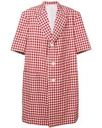 Thom Browne Gingham Patch Pocket Sack Overcoat - Rojo